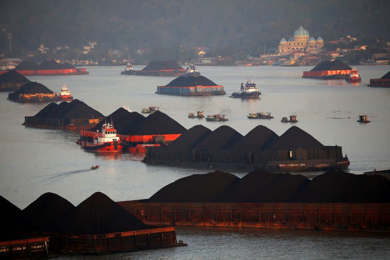 FILE PHOTO: Coal barges are pictured as they queue to be pull along Mahakam river in Samarinda, East Kalimantan province