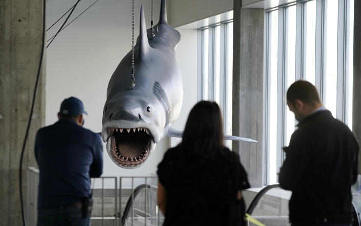 """Museum workers look on as a fiberglass replica of Bruce, the shark featured in Steven Spielberg's classic 1975 film """"Jaws"""" is raised into a suspended position for display at the new Academy of Museum of Motion Pictures, Friday, Nov. 20, 2020, in Los Angeles. The museum celebrating the art and science of movies is scheduled to open on April 30, 2021. (AP Photo/Chris Pizzello)"""