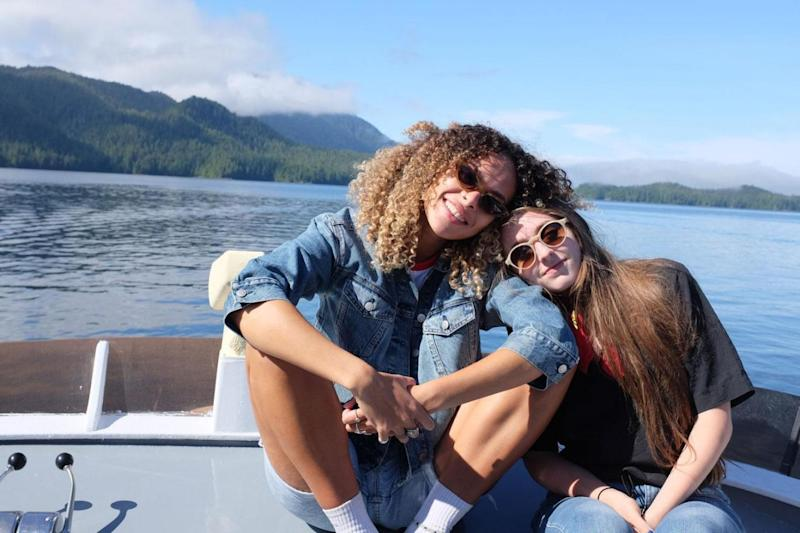 Londoners Emerald Lewis, left, and Ashton Casey visit the island in a search for the meaning of 'greatness' (Josh Meeks-Rayvon)