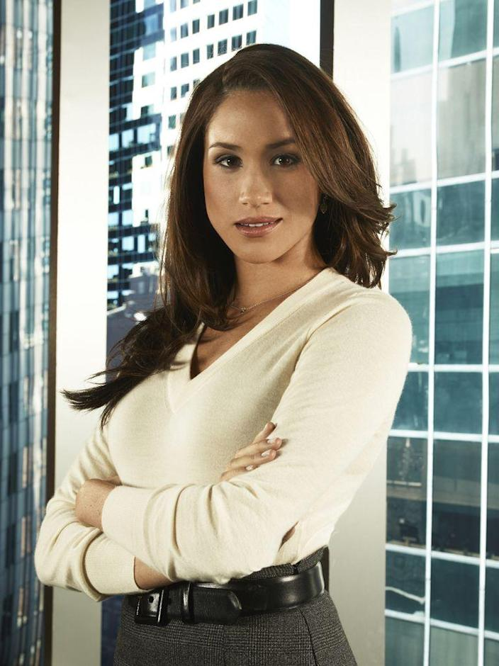 <p>In a promotional shot for the first season of <em>Suits</em>. </p>