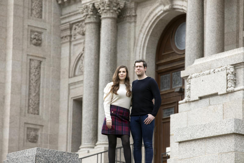 Andrew Jenkins and Krista York of Minnesota, who were set to marry on Aug. 20 at the Cathedral of St. Paul, outside the cathedral in St. Paul, Minn., on Saturday, May 9, 2020. (Jenn Ackerman/The New York Times)