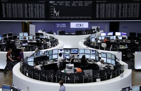 The curve of the German share price index DAX board, is pictured at the Frankfurt stock exchange June 6, 2014. REUTERS/Remote/Stringer