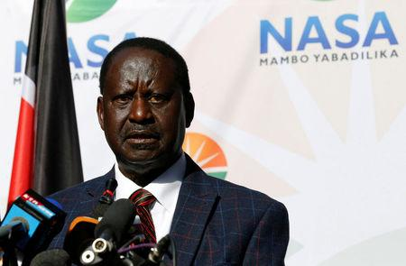 Opposition leader Raila Odinga speaks at a news conference at the offices of the NASA coalition in Nairobi