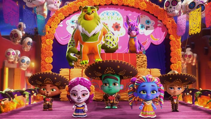 """<p><strong>Netflix description:</strong> """"The Super Monsters celebrate Día de los Muertos in Vida's hometown with her magical family, some new monster friends and a spook-tacular parade!""""</p> <p><strong>Ages it's appropriate for:</strong> 3 and up</p> <p><a href=""""https://www.netflix.com/title/81162075"""" class=""""link rapid-noclick-resp"""" rel=""""nofollow noopener"""" target=""""_blank"""" data-ylk=""""slk:Watch Super Monsters: Dia de los Monsters on Netflix now!"""">Watch <strong>Super Monsters: Dia de los Monsters</strong> on Netflix now!</a></p>"""