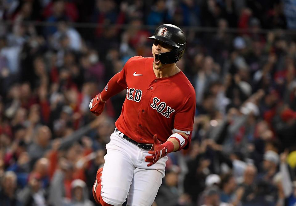 Boston Red Sox center fielder Kiké Hernandez (5) reacts after hitting a solo home run against the Tampa Bay Rays during the fifth inning.