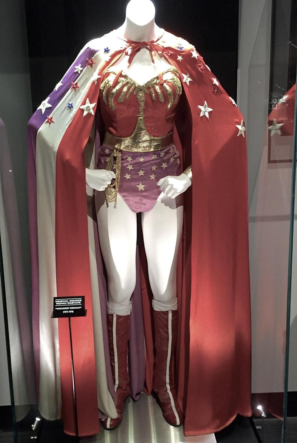 <p>Another vintage costume in the Warner Bros. Experience is Lynda Carter's classic disco-fied costume from the hit 1970s TV series.</p>