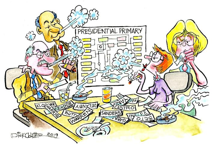 The smoky back room. (Illustration by Dick Collier for Yahoo News)