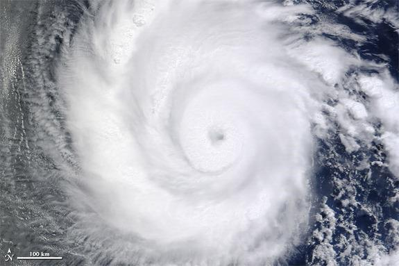 Hurricane Emilia swirled over the Eastern Pacific Ocean soon after forming in early July 2012, as seen by NASA's Terra satellite.