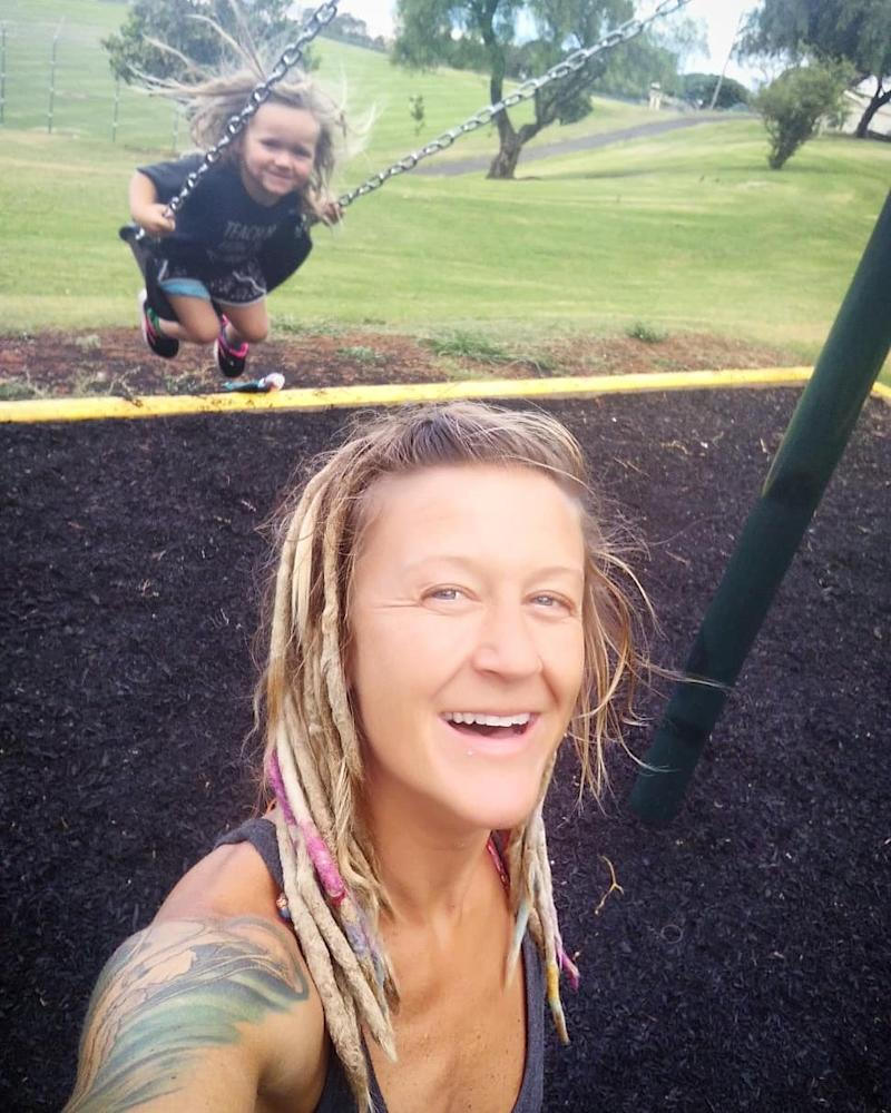 Ms Miller and Loretta are seen together at a playground. Source: Australscope