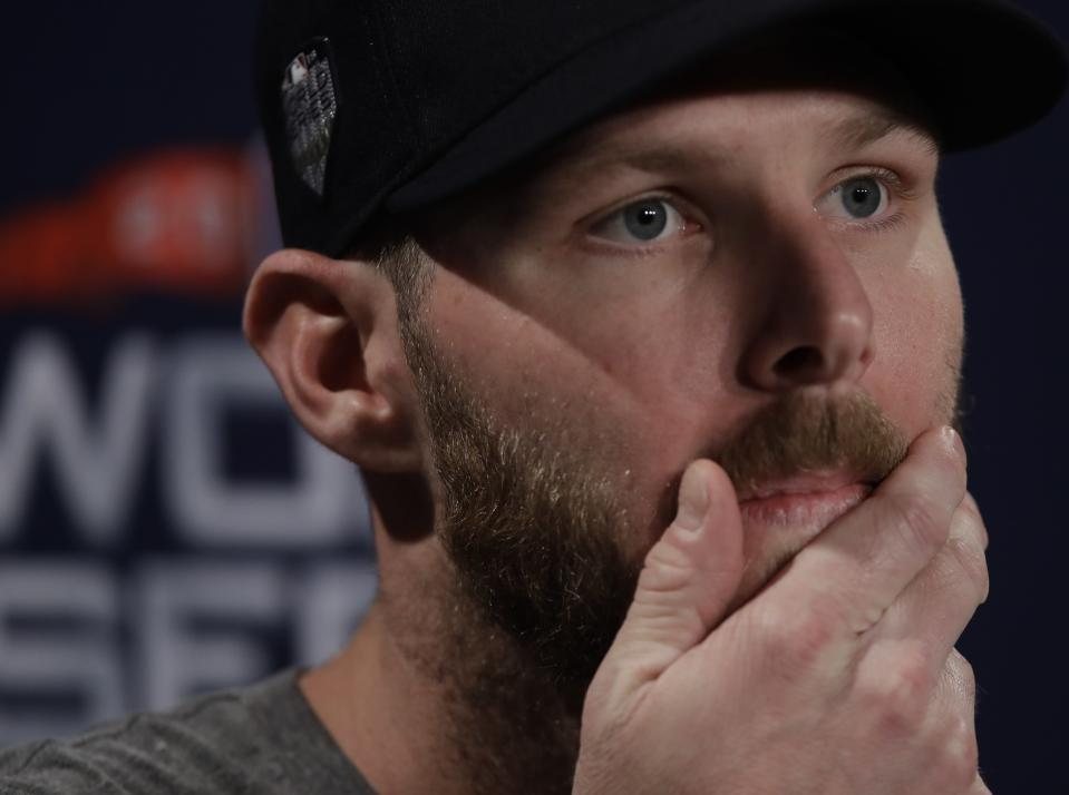 Boston Red Sox's Chris Sale answers questions for the World Series baseball game Monday, Oct. 22, 2018, in Boston.The Red Sox play the Los Angeles Dodgers in Game 1 on Tuesday, Oct. 23, 2018. (AP Photo/Charles Krupa)