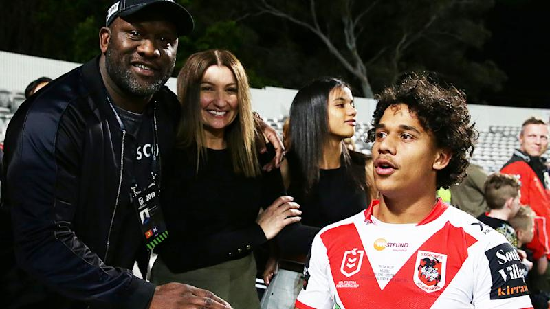 Wendell Sailor, pictured here with son Tristan after his NRL debut in 2019.
