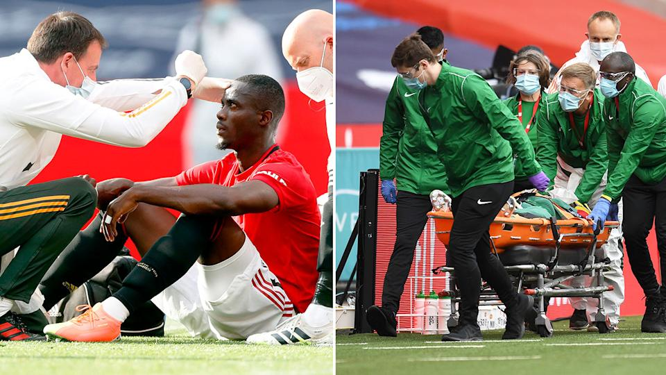 Seen here, Eric Bailly getting treated after two knocks to his head.