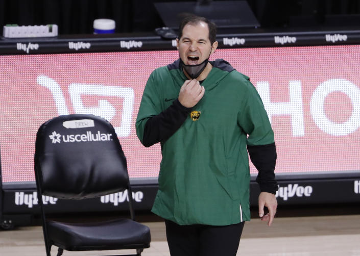 Head coach Scott Drew of the Baylor Bears coaches from the bench