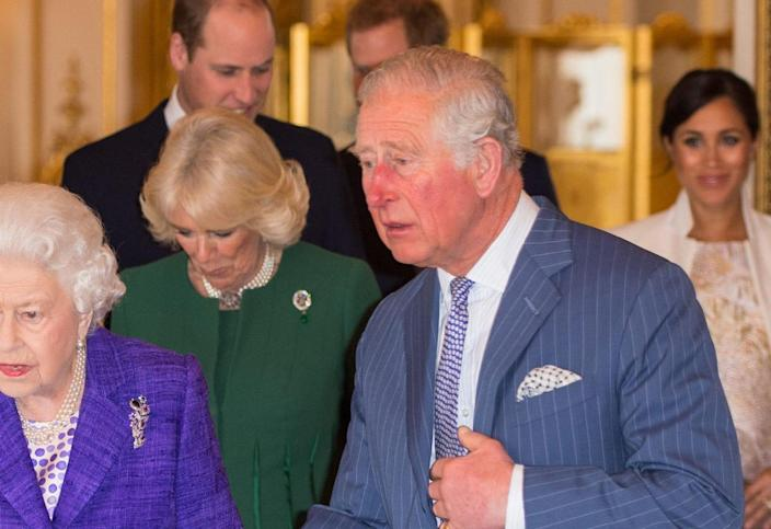 The Duchess of Cornwall wears the emerald and diamond Prince of Wales Feathers brooch - Getty Images