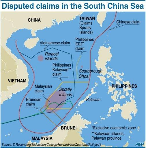 Graphic showing disputed claims in the South China Sea. China, which claims sovereignty over virtually all of the sea, prefers to negotiate directly with its neighbours from the 10-member Association of Southeast Asian Nations (ASEAN)