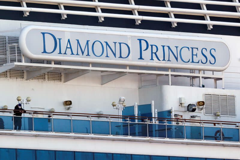 FILE PHOTO: Cruise ship Diamond Princess at Daikoku Pier Cruise Terminal in Yokohama