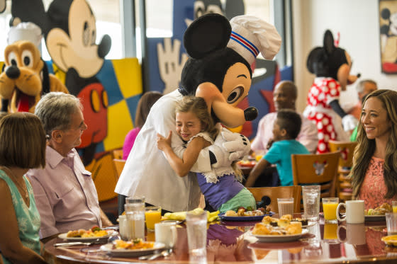 Dining in Chef Mickey's at Disney's Contemporary Resort.