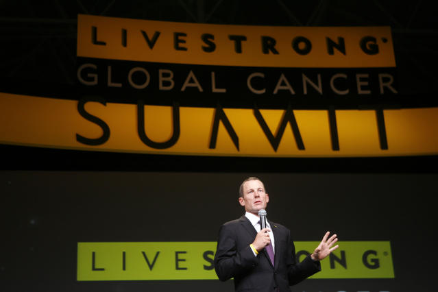FILE - In this Aug. 24, 2009 file photo, Lance Armstrong speaks at the opening session of the Livestrong Global Cancer Summit in Dublin, Ireland. Armstrong apologized to the staff at his Livestrong cancer foundation before heading to an interview with Oprah Winfrey, a person with direct knowledge of the meeting told The Associated Press. The person spoke on condition of anonymity because the discussion was private. (AP Photo/Peter Morrison, File)