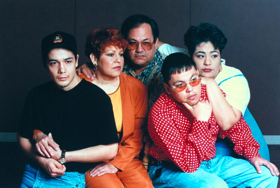 (L-R) Family of late tejano singer Selena who was shot by her former fan club pres. Yolanda Saldivar: husband Chris Perez, parents Marcela & Abraham Quintanilla, & siblings A.B. & Suzette.  (Photo by Barbara Laing/The LIFE Images Collection via Getty Images/Getty Images)