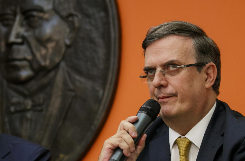 Marcelo Ebrard, Mexico's Secretary of Foreign Affairs, speaks at the Embassy of Mexico, Wednesday June 5, 2019, in Washington. (AP Photo/Jacquelyn Martin)