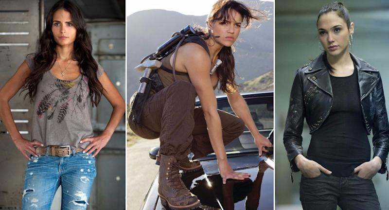 The women of 'Fast & Furious'; L-R, Jordana Brewster, Michelle Rodriguez, Gal Gadot (credit: Universal)