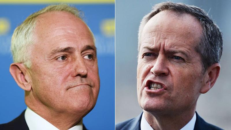 Halfway through the 2016 election campaign, Malcolm Turnbull (left) and Bill Shorten (right) are head to head. Photo: AAP