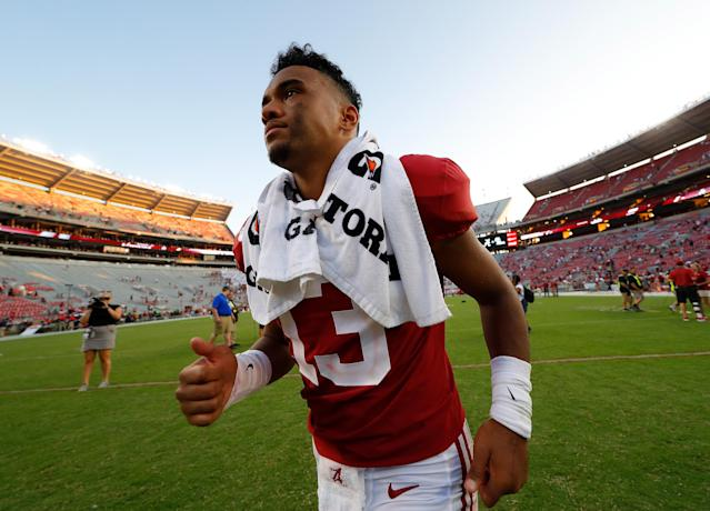 "Is Saturday <a class=""link rapid-noclick-resp"" href=""/ncaaf/players/274844/"" data-ylk=""slk:Tua Tagovailoa"">Tua Tagovailoa</a>'s final time on the Bryant-Denny Stadium sideline as an Alabama player? (Photo by Kevin C. Cox/Getty Images)"