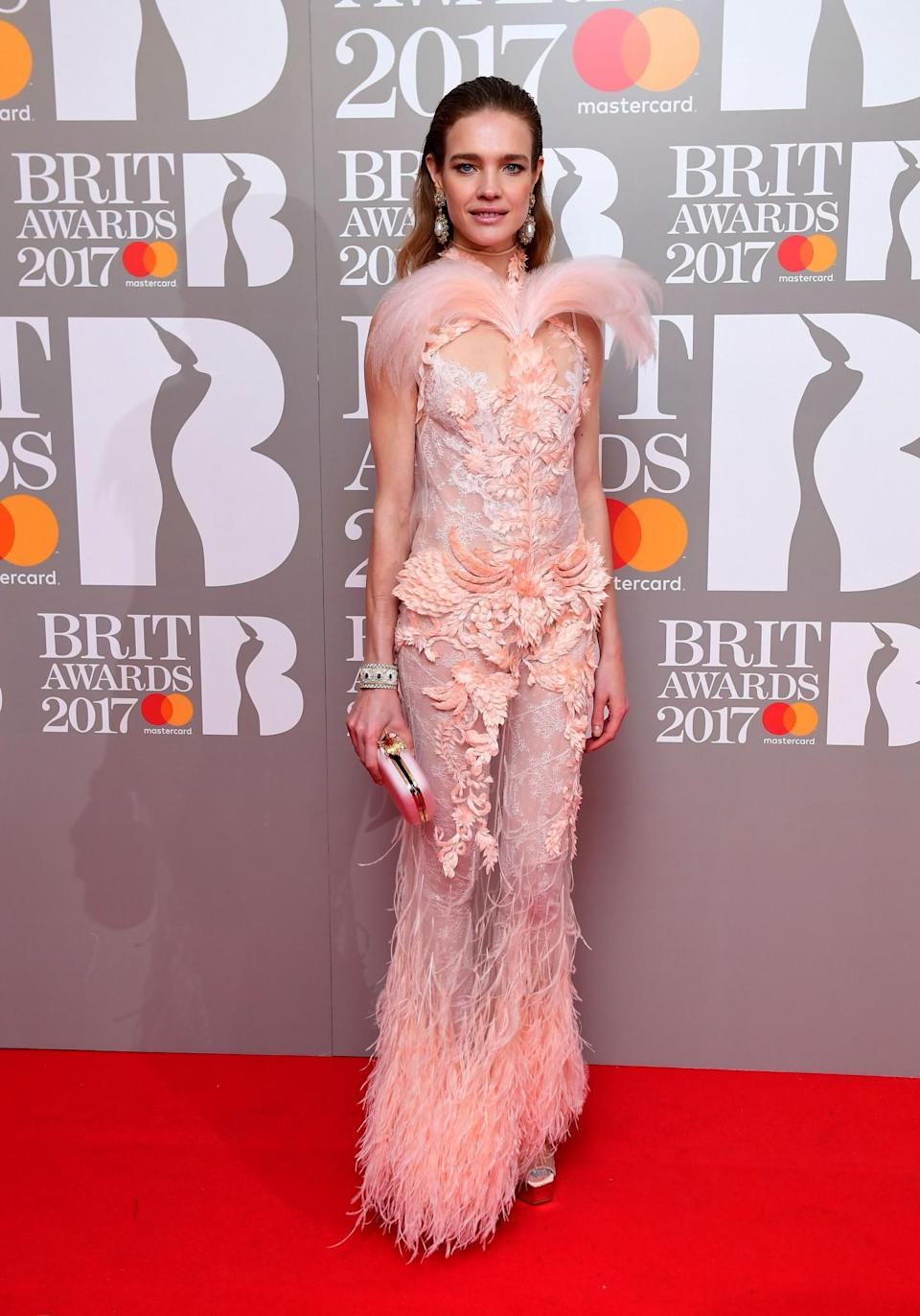 <p>The supermodel wore the most opulent look of the night. <i>[Photo: PA]</i> </p>