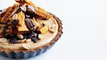 """If you're all about that whole salty and sweet thing, there is no better pie for you than this supremely well balance peanut butter honeycomb pie. <a href=""""https://www.bonappetit.com/recipe/peanut-butter-honeycomb-pie?mbid=synd_yahoo_rss"""" rel=""""nofollow noopener"""" target=""""_blank"""" data-ylk=""""slk:See recipe."""" class=""""link rapid-noclick-resp"""">See recipe.</a>"""