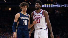 Pelicans center Jaxson Hayes and 76ers center Joel Embiid