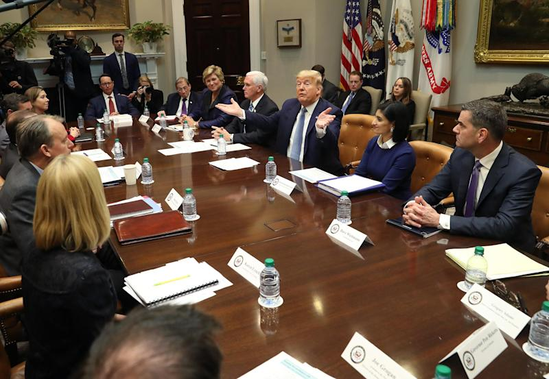 Donald Trump and his team pictured on Tuesday at the White House: Getty Images