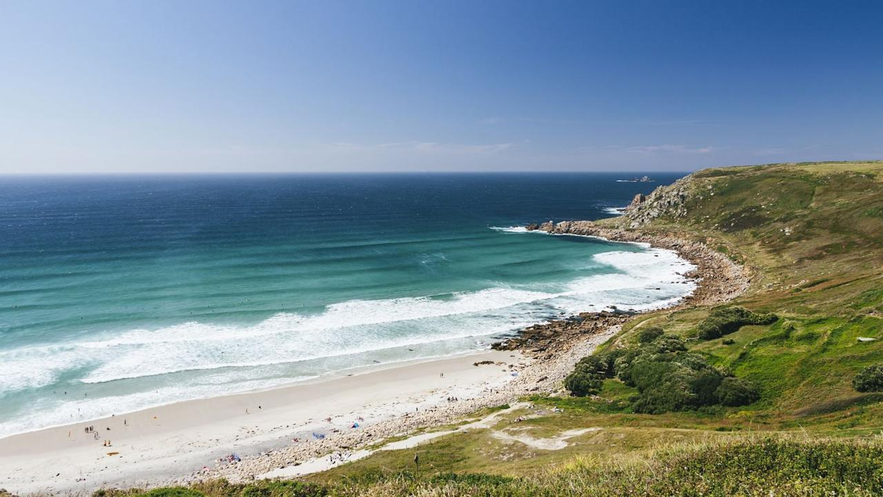<p>Sandy and about 150 metres long, Gwenver Beach is located near Penzance, West Cornwall. At low tide it joins up with Sennen beach, while at high tide it feels secluded and rural enough not to get crowded. Gorgeous. </p>