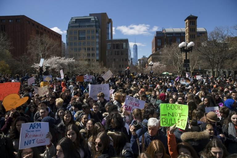 Students protest against gun violence in a rally at Washington Square Park in New York