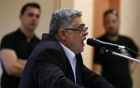 File photo shows leader of far-right Golden Dawn party Mihaloliakos addressing an election campaign rally in Perama