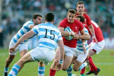 Rugby Union - June Internationals - Argentina v Wales - San Juan del Bicentenario Stadium, San Juan, Argentina - June 9, 2018 - Wales' Hallam Amos runs with the ball. REUTERS/Diego Lima