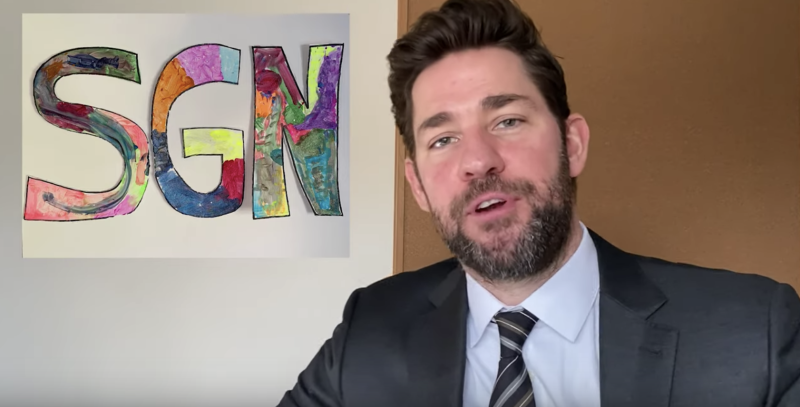 "John Krasinski debuts the new YouTube show, ""Some Good News,"" amid the coronavirus pandemic. (Screenshot: John Krasinski via YouTube)"