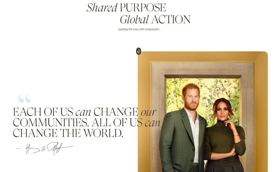 The Duke and Duchess of Sussex's Archewell website