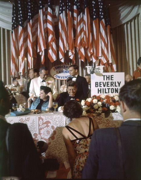 <p>John F. Kennedy joins actress Judy Garland at the Beverly Hilton Hotel for a Democratic fundraiser.</p>