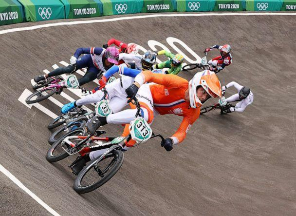 PHOTO: Kye Whyte of Team Great Britain competes during the Men's BMX semifinals at the Tokyo 2020 Olympic Games, July 30, 2021 in Tokyo. (Francois Nel/Getty Images)