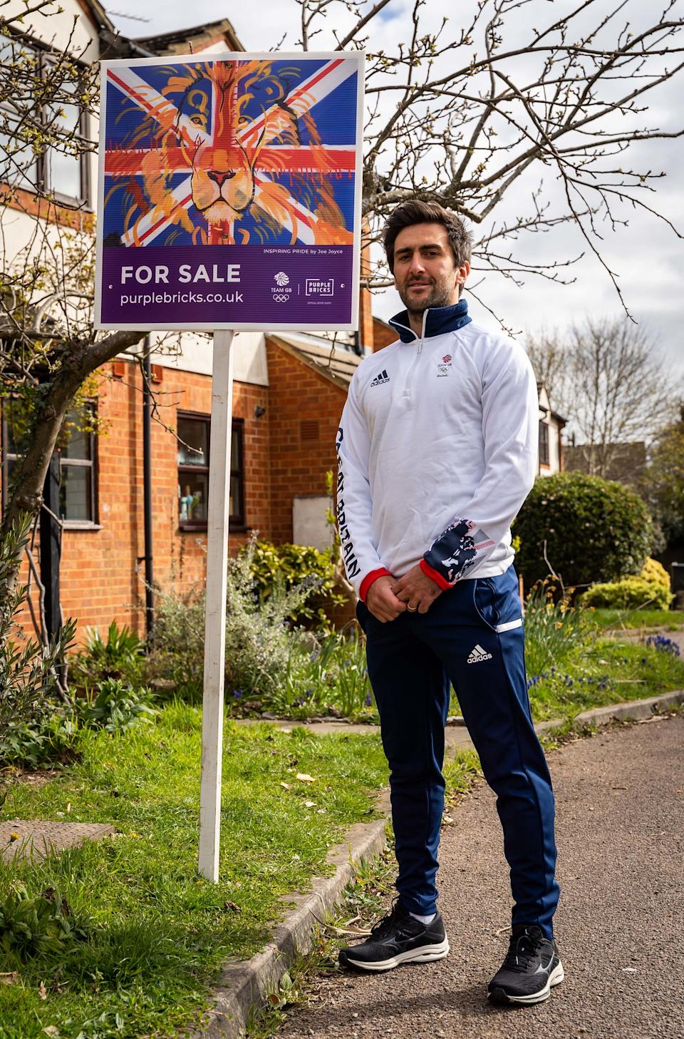 The GB hockey skipper currently has a Purplebricks For Sale board outside his house - with imagery created by GB boxer Joe Joyce