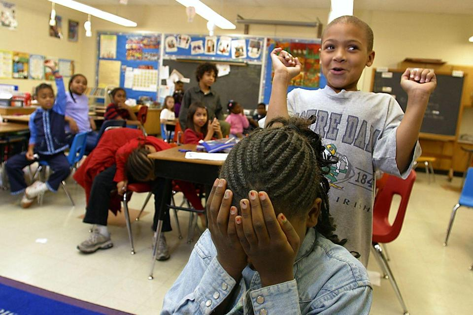 <p>Third grade classmates play games together during indoor recess at their Maryland elementary school.</p>