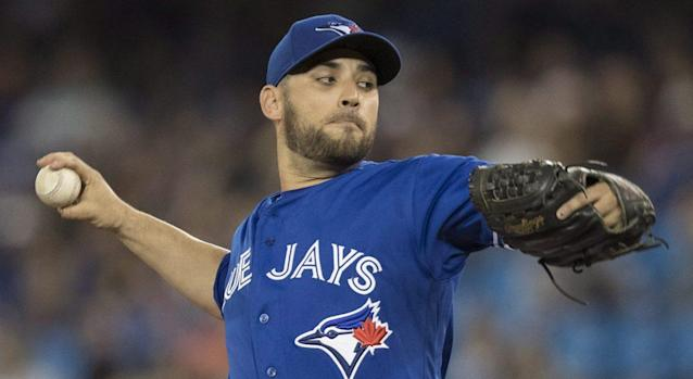 "<a class=""link rapid-noclick-resp"" href=""/mlb/players/8329/"" data-ylk=""slk:Marco Estrada"">Marco Estrada</a> has been excellent for the Blue Jays. (Fred Thornhill/AP)"