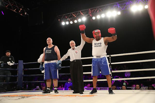 <p>Oghenevigho Krokoto (red) is named winner after a TKO in the first round over Eddie Wilson (blue) in the GVSP Grudge Match at the NYPD Boxing Championships at the Hulu Theater at Madison Square Garden on March 15, 2018. (Gordon Donovan/Yahoo News) </p>