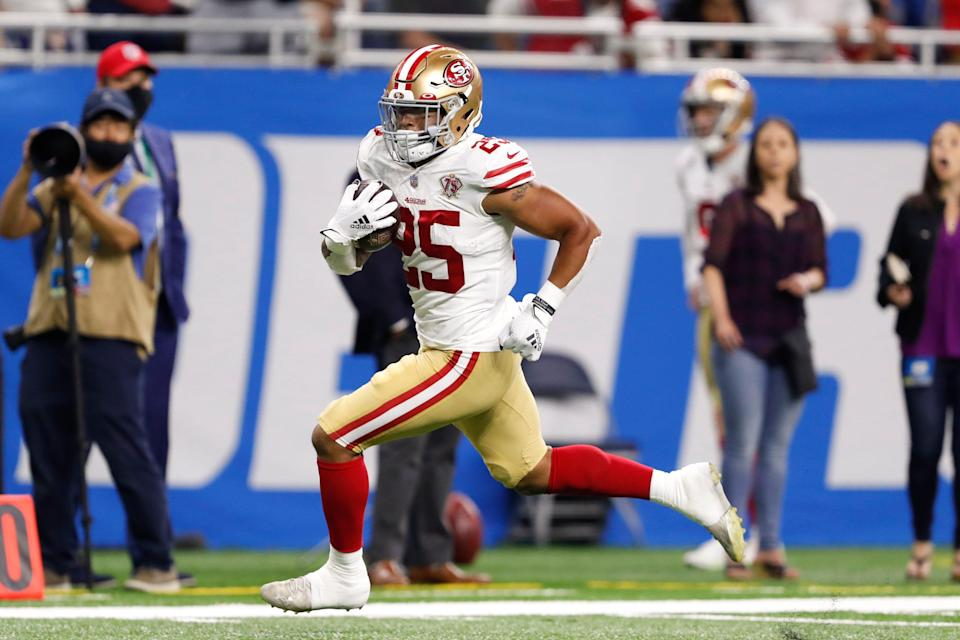 San Francisco 49ers rookie Elijah Mitchell sprints toward the end zone on a 38-yard touchdown run in Week 1 vs. the Lions.