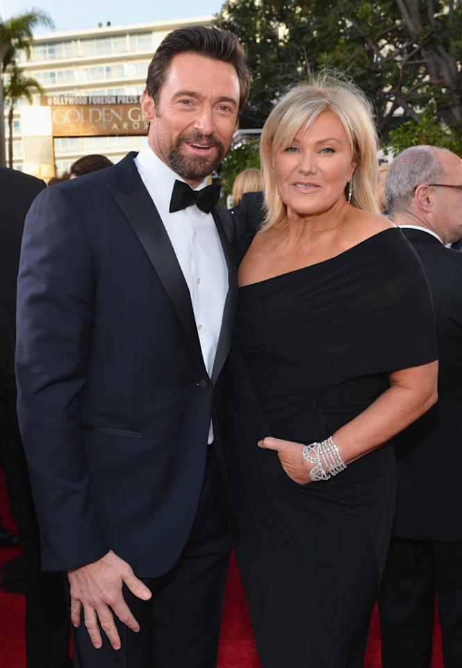 BEVERLY HILLS, CA - JANUARY 13:  70th ANNUAL GOLDEN GLOBE AWARDS -- Pictured: Actor Hugh Jackman and wife Deborra-Lee Furness arrive to the 70th Annual Golden Globe Awards held at the Beverly Hilton Hotel on January 13, 2013.  (Photo by Alberto Rodriguez/NBC/NBC via Getty Images)