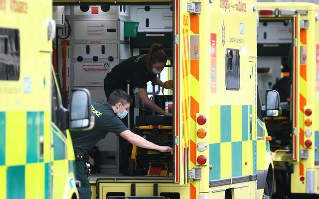 An ambulance is cleaned at the Royal London Hospital in east London (Yui Mok/PA)