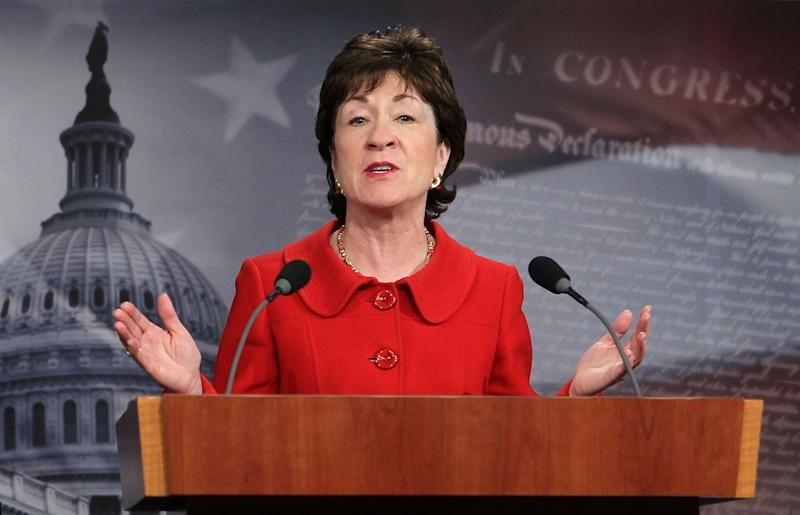 """<a href=""""http://www.senate.gov/artandhistory/history/common/briefing/women_senators.htm""""><strong>Served from:</strong></a> 1997-present Sen. Susan Collins (R-Maine) speaks during a news conference on Capitol Hill February 1, 2011 in Washington. (Photo by Alex Wong/Getty Images)"""