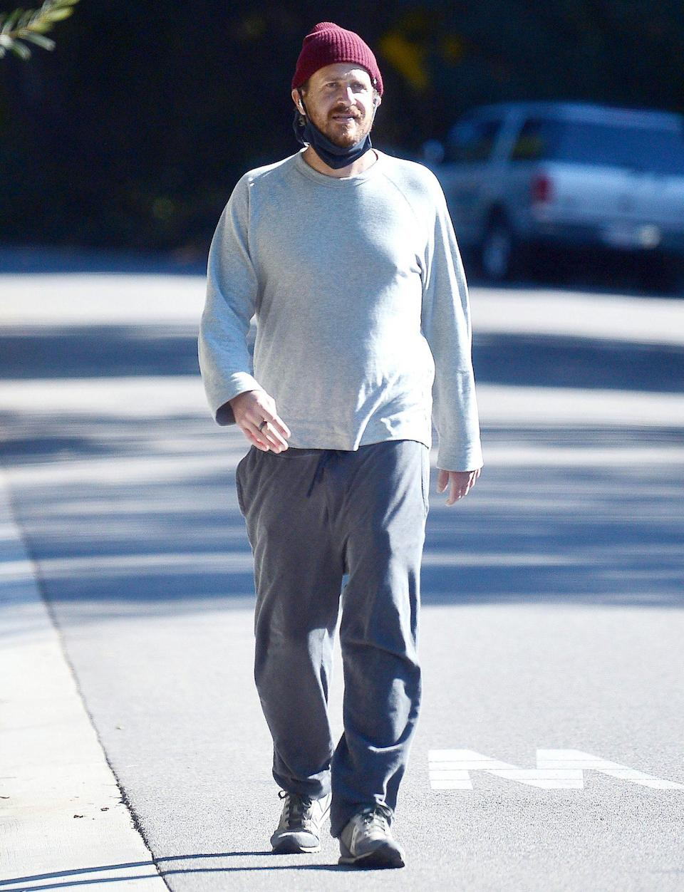 <p>Jason Segel takes a solo stroll on Wednesday in Los Angeles.</p>