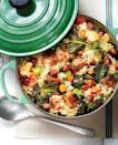 """<p><strong>Recipe: <a href=""""https://www.southernliving.com/syndication/chicken-collards-pilau"""" rel=""""nofollow noopener"""" target=""""_blank"""" data-ylk=""""slk:Chicken-and-Collards Pilau"""" class=""""link rapid-noclick-resp"""">Chicken-and-Collards Pilau</a></strong></p> <p>Chicken and rice are suppertime staples in our kitchen, and they star in this version of Lowcountry-favorite pilau. Cajun smoked sausage adds just the right amount of heat and smoke to this one-pot dinner.</p>"""