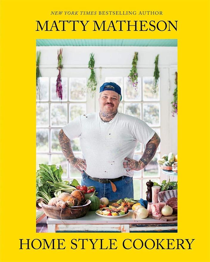 """<h2>""""Home Style Cookery"""" by Matty Matheson<br></h2><br>Last food thing, we promise! But this is a really good one. Beloved Canadian home chef Matty Matheson's (long-awaited) second cookbook is written in his trademark intimate and funny tone and filled with recipes that are just plain good. Whether your dude is a devoted home cook or just starting to tinker with pickling his own vegetables, this book will be a welcome addition to his arsenal.<br><br><em>Shop editor's picks cookbooks on <strong><a href=""""https://amzn.to/3gf98y5"""" rel=""""nofollow noopener"""" target=""""_blank"""" data-ylk=""""slk:Amazon"""" class=""""link rapid-noclick-resp"""">Amazon</a></strong></em><br><br><strong>Matty Matheson</strong> """"Home Style Cookery"""", $, available at <a href=""""https://amazon.com/Matty-Matheson-Home-Style-Cookery/dp/1419747487"""" rel=""""nofollow noopener"""" target=""""_blank"""" data-ylk=""""slk:Amazon"""" class=""""link rapid-noclick-resp"""">Amazon</a>"""